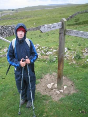 Jimmy at the fingerposts on Little Fell