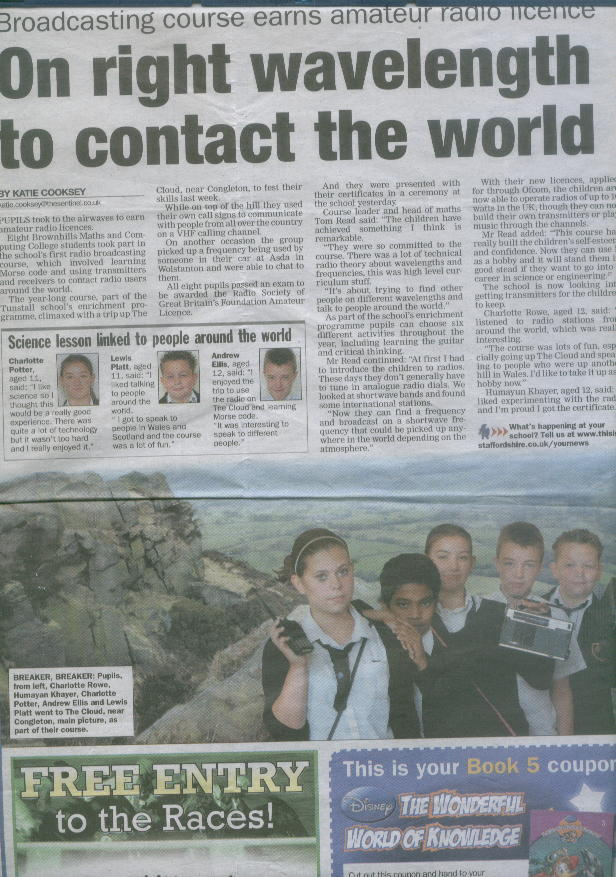 Stoke Sentinel article about amateur radio course at Brownhills High School