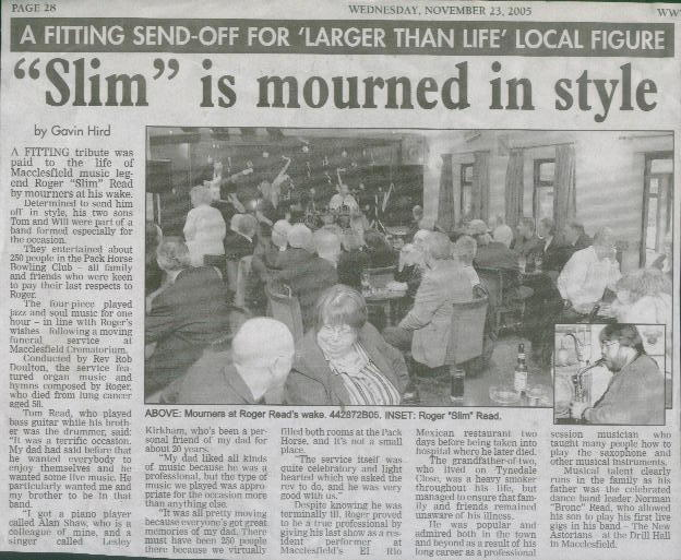 Macclesfield Express article about dad's wake