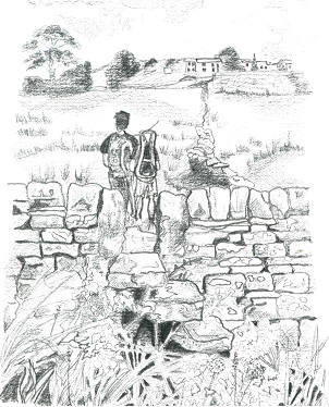 Marianne's pencil drawing of Jimmy & I near Ponden Reservoir